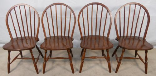 Set of Four Windsor Style Stickback Wide Seat Kitchen Dining Chairs